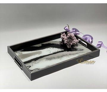 FUGURATO Fugurato Epoxy Style Zwart Marble Rechthoek Dienblad