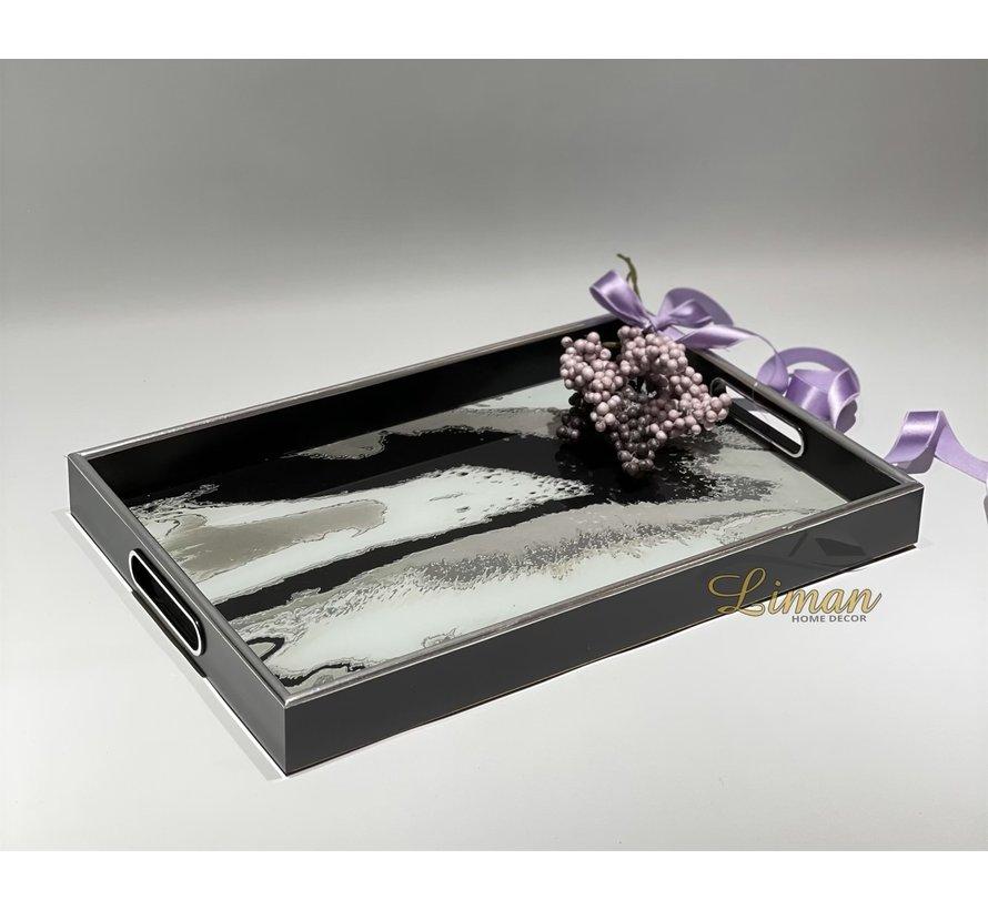 Fugurato Epoxy Style Zwart Marble Rechthoek Dienblad