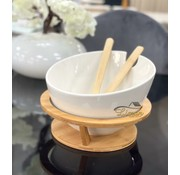 BRICARD PORCELAIN Bricard Saladeschaal Met Bamboe Stand Wit 4 DLG