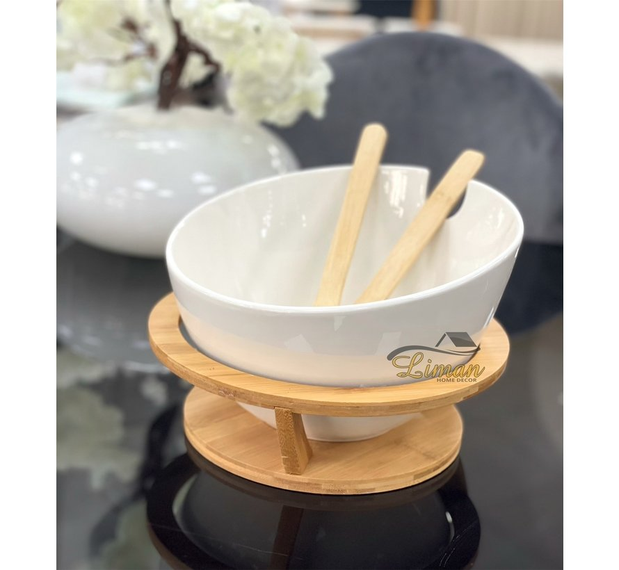 Bricard Saladeschaal Met Bamboe Stand Wit 4 DLG