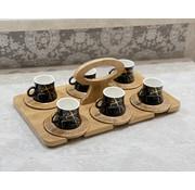 Zellerfeld Bamboe Dienblad - Zwart Marmer Espressoset