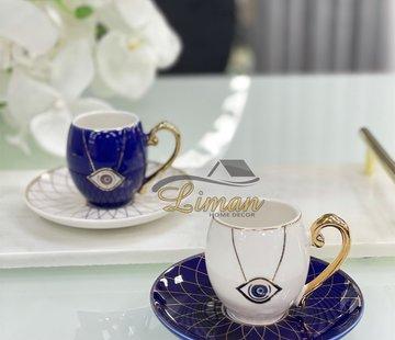 La Otantik La Otantik Nazar 4 Delig Espressoset Blauw - Wit
