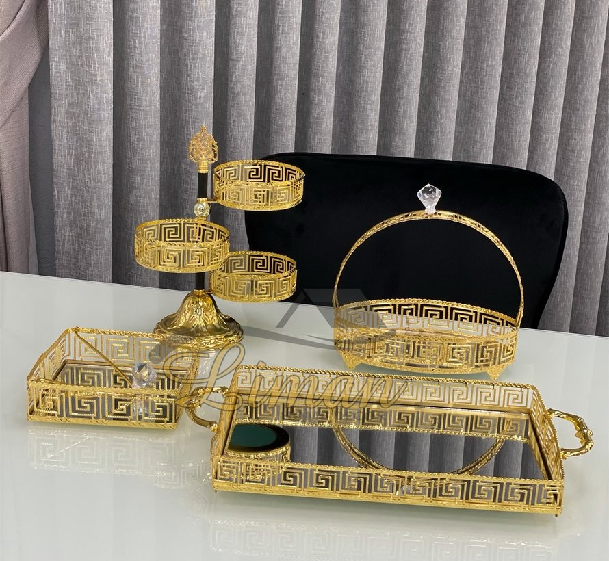 Athena Ovaal Dienblad Met Handvat Gold