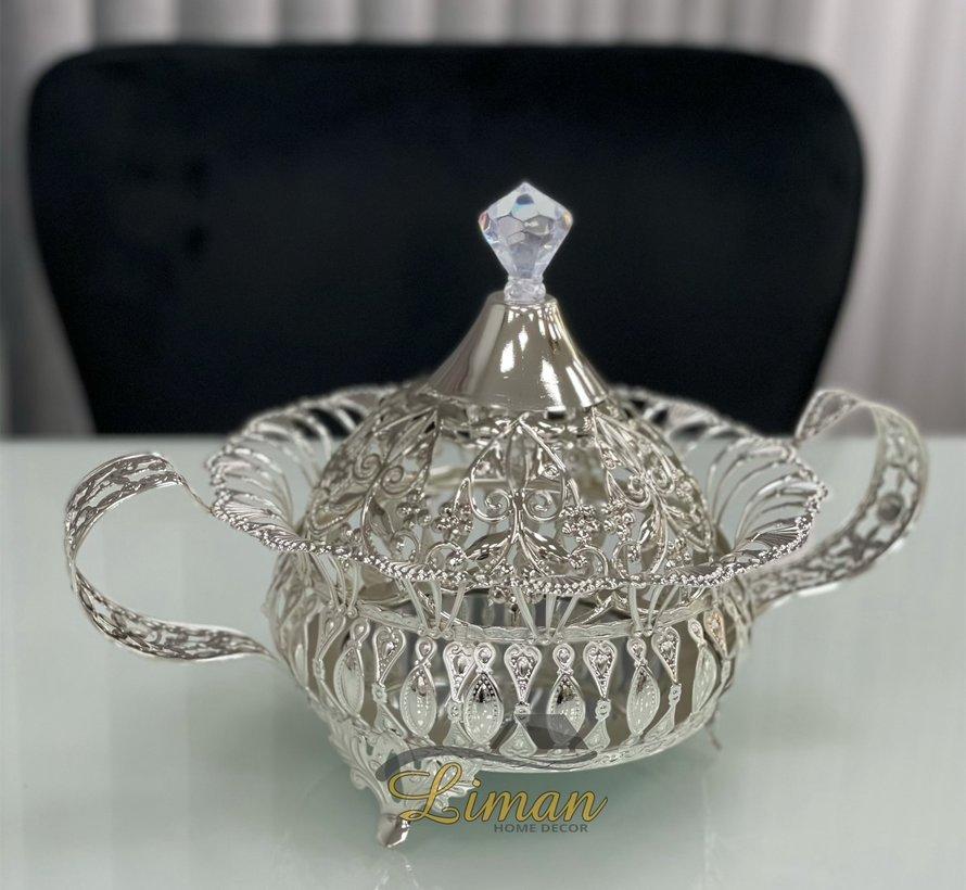 Aras Suikerpot Met Deksel Zilver