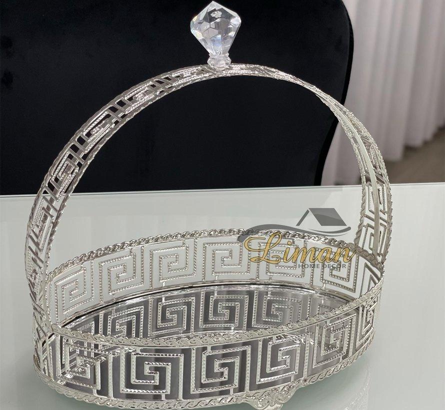 Athena Ovaal Dienblad Met Handvat Zilver