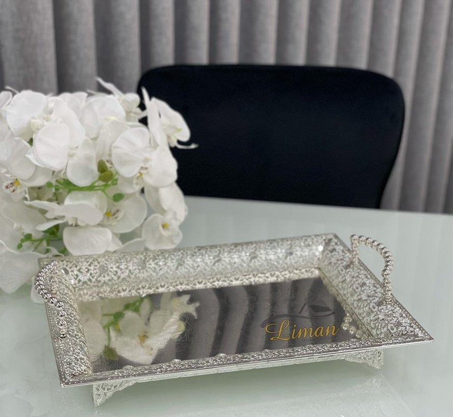 Fugurato Rechthoek Dienblad Met Handvat Zilver