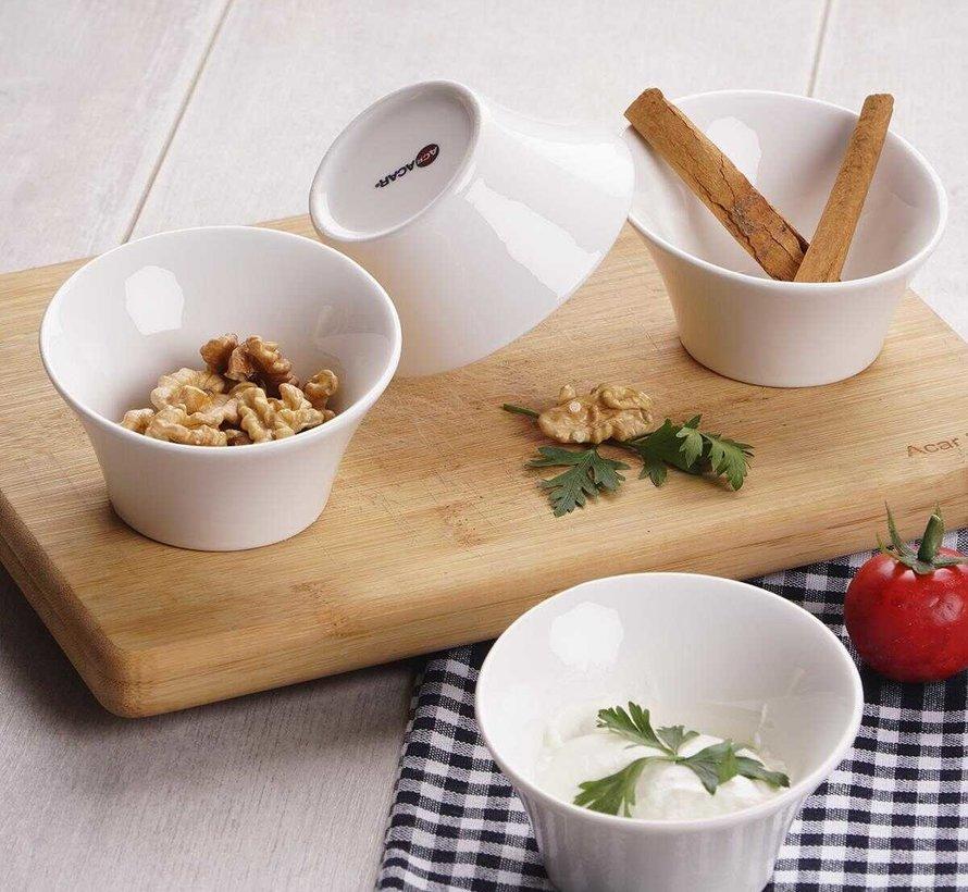 ACR Bianca Perla Schuine Snack Schaal 10 X 4  Cm ( 4 Dlg)