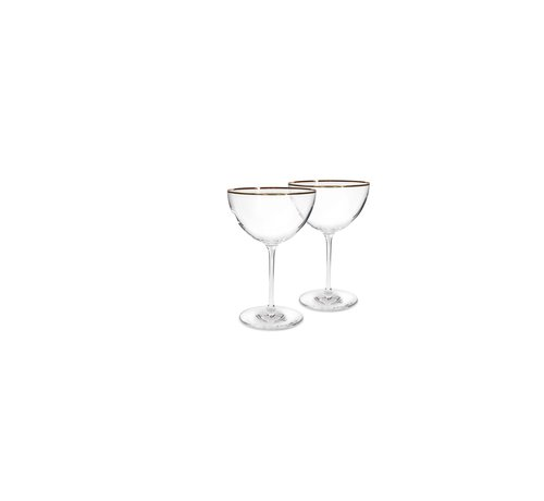 S|P Collection Elegance Champagne coupe 35cl gouden rand - set/2