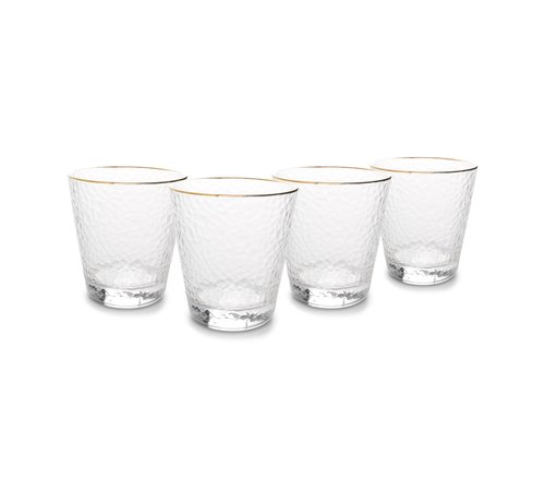 S|P Collection Elegance Glas 29,5cl met gouden rand - set/4