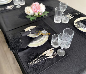 Cinar Tafelkleed Set Met Placemat Zwart 34 Delig