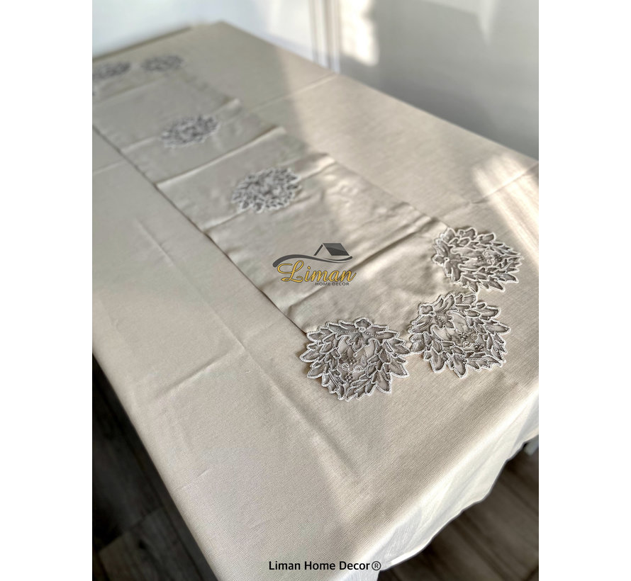 Cinar Tafelkleed Set Met Placemat Beige 34 Dlg