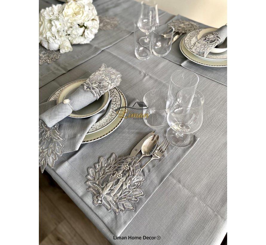Cinar Tafelkleed Set Met Placemat Grijs 34 Dlg