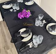 Lotus Tafelkleed Set Met Placemat Zwart 34 Dlg