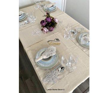 Lotus Tafelkleed Set Met Placemat Beige 34 Dlg