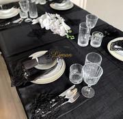 Menekse Tafelkleed Set Met Placemat Zwart 34 Dlg