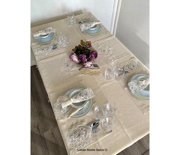 Menekse Tafelkleed Set Met Placemat Beige 34 Dlg