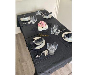 Sehzade Tafelkleed Set Met Placemat Zwart 34 Dlg