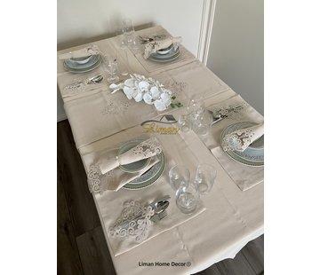 Sehzade Tafelkleed Set Met Placemat Beige 34 Dlg