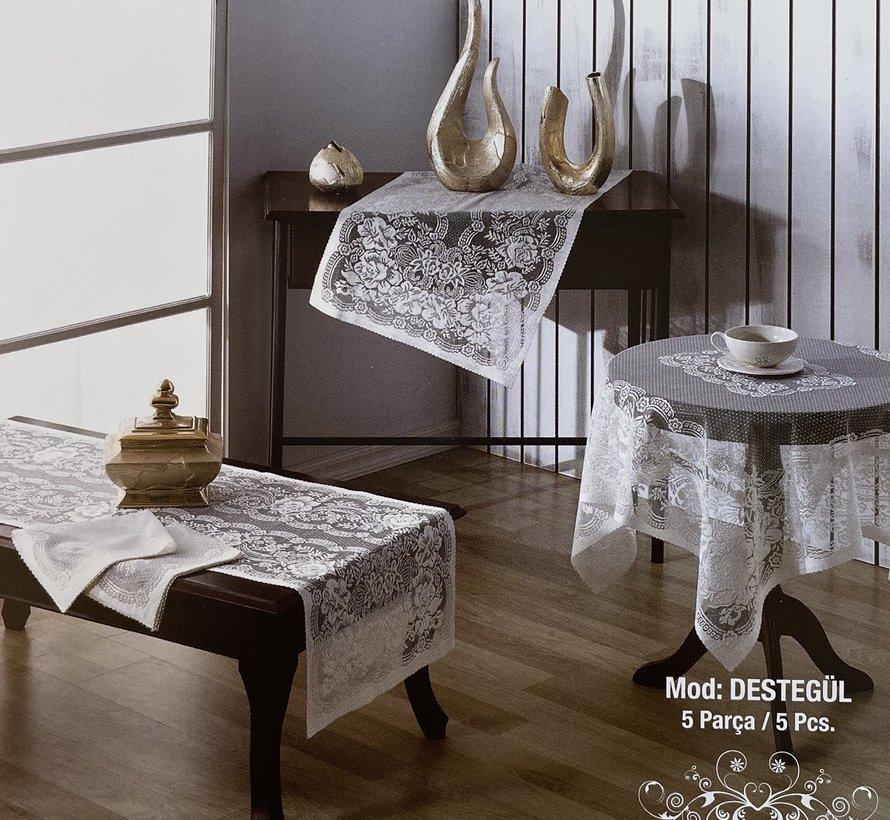 Evlen Home Pirilti Destegul 5  Delig Tafelkleed Set Cappuccino
