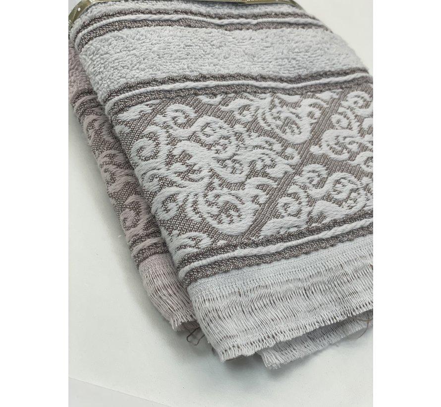 Ipekce Jaquard Handdoek 50 x 90 cm 2 Delig Paars - Grijs
