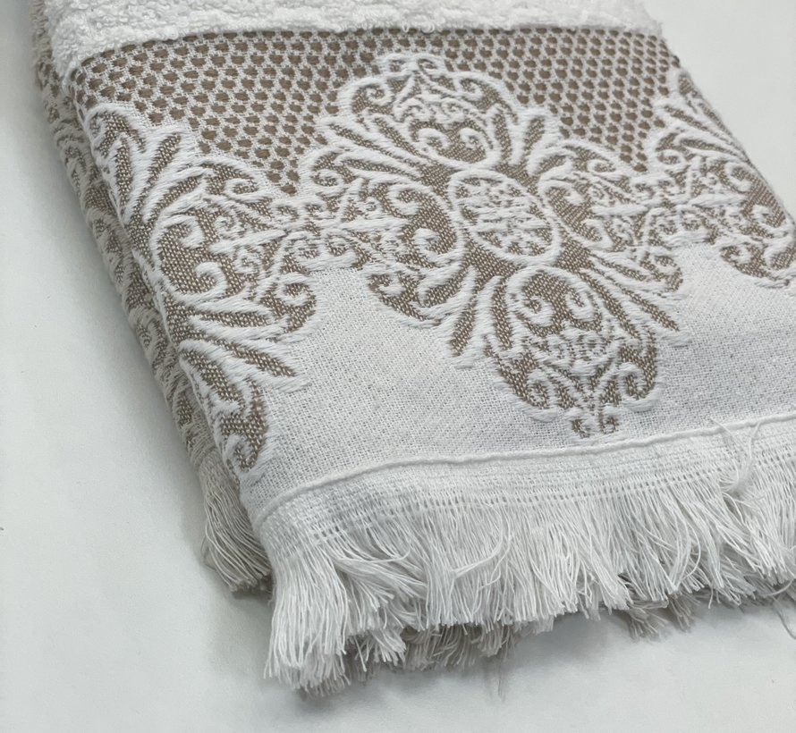 Ipekce Jaquard Handdoek 50 x 90 cm 2 Delig Cream - Bruin