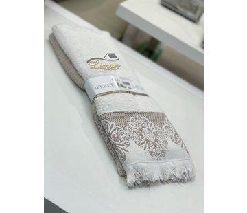IPEKCE Ipekce Jaquard Handdoek 50 x 90 cm 2 Delig Cream - Bruin