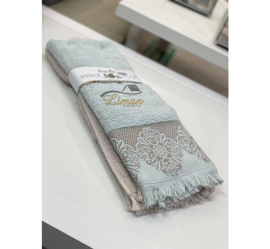 Ipekce Jaquard Handdoek 50 x 90 cm 2 Delig Mint - Bruin