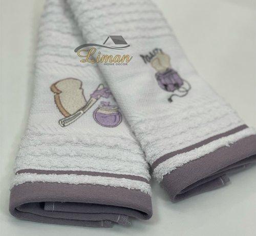 IPEKCE Ipekce Keuken Handdoek 30 x 50 Cm 2 Delig Paars