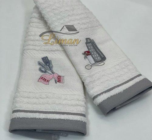 IPEKCE Ipekce Keuken Handdoek 30 x 50 Cm 2 Delig Grijs