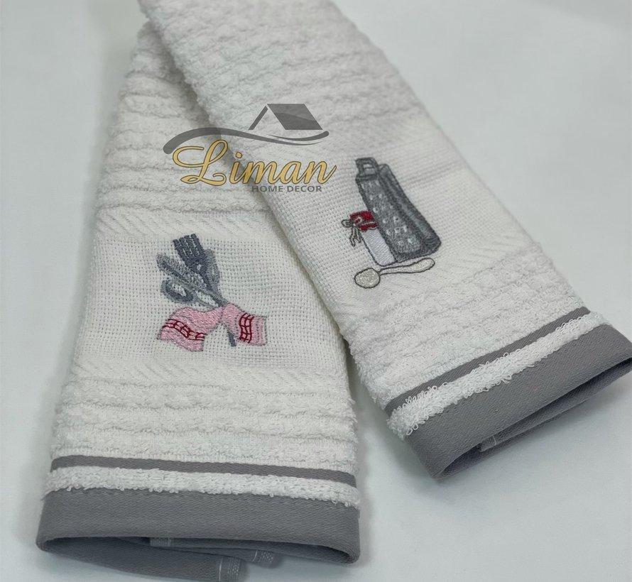 Ipekce Keuken Handdoek 30 x 50 Cm 2 Delig Grijs