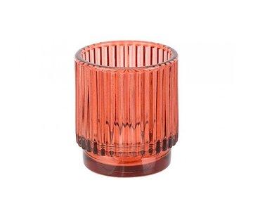 THEELICHTHOUDER ROOD D7XH8CM GLAS