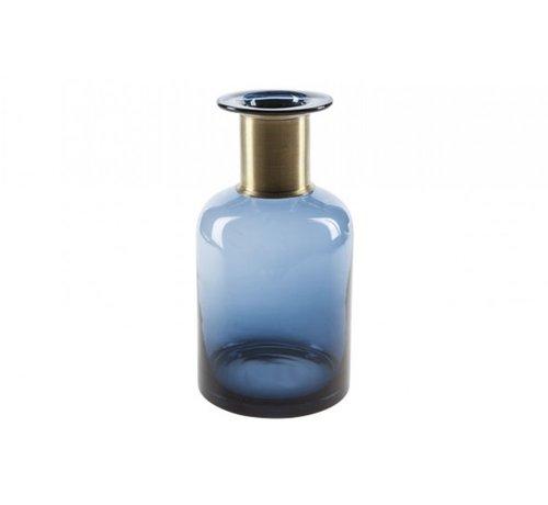 FLASCHEVASE DUNKEL BLAU RUND GLAS 12X12XH30