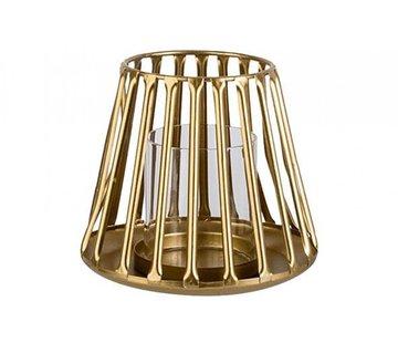 WINDLICHT GOLD 14,5X14,5XH12,5CM METALL