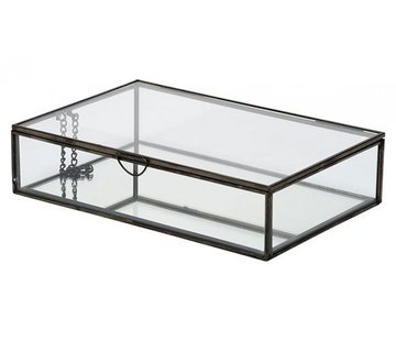 BOX GLASS BLACK 28X18,8XH6,8CM METAL