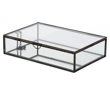 DOOS GLASS ZWART 28X18,8XH6,8CM METAAL