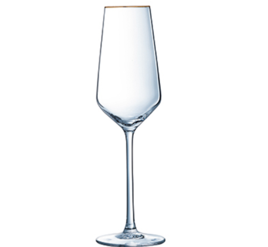 Cosy 4 delig Champagneglazen Met Gouden Rand 21 CL
