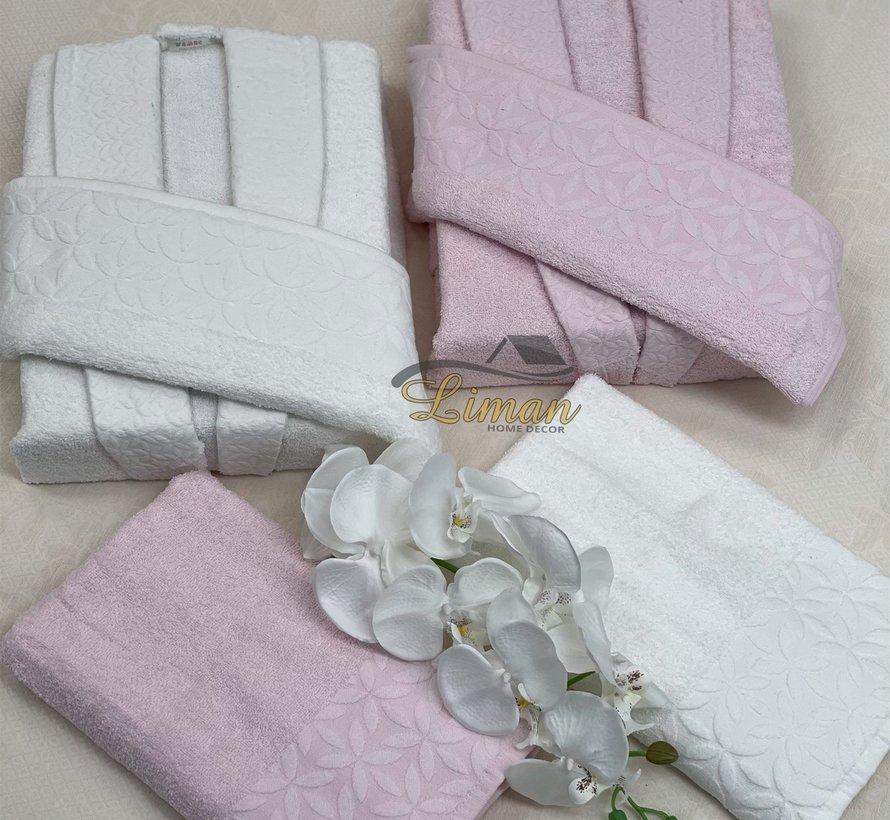 Ipekce Melis 6 - Delige Badjas set  Cream / Roze