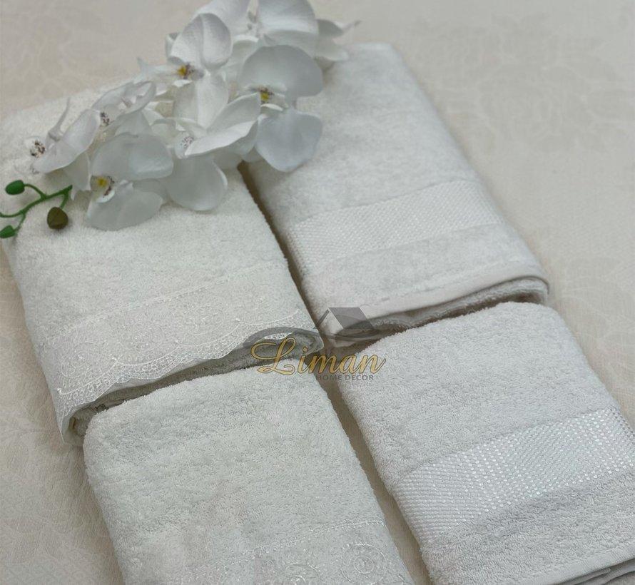 Ipekce Beril Handdoek set 4 Dlg Cream / Cream
