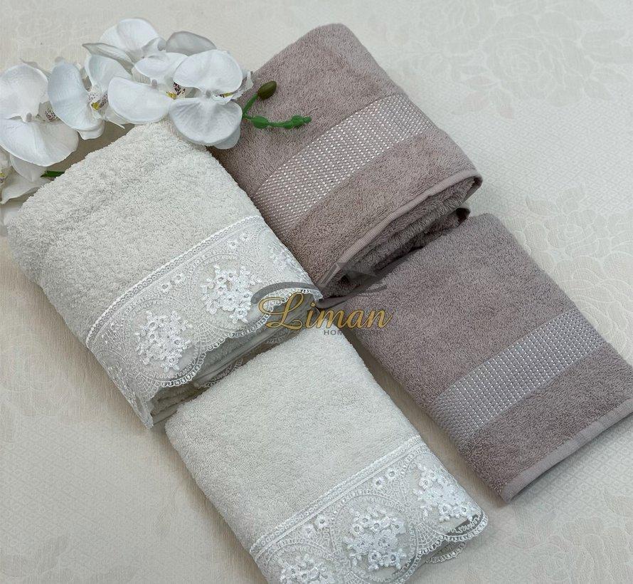 Ipekce Beril Handdoek set 4 Dlg Cream / Bruin