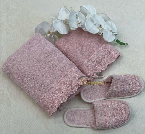 IPEKCE Ipekce Beril Handdoek Set + Slipper Roze