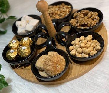 BRICARD PORCELAIN Bricard Snackset Met  Draaiende Serveerbord Bamboe 7 Delig
