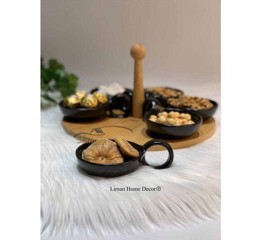 Bricard Snackset Met  Draaiende Serveerbord Bamboe 7 Delig