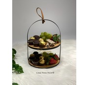 PLATE TOWER BAMBOO WITH METAL HOLDER D20,5XH26CM