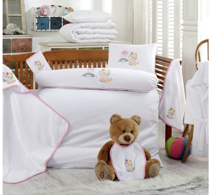 Ipekce 10 Stuks Baby Dekbedovertrek+Badjas Set Unicorn