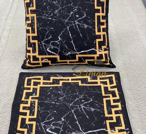 Goud / Zwart Marmer Patroon kussensloop 2 Stuks