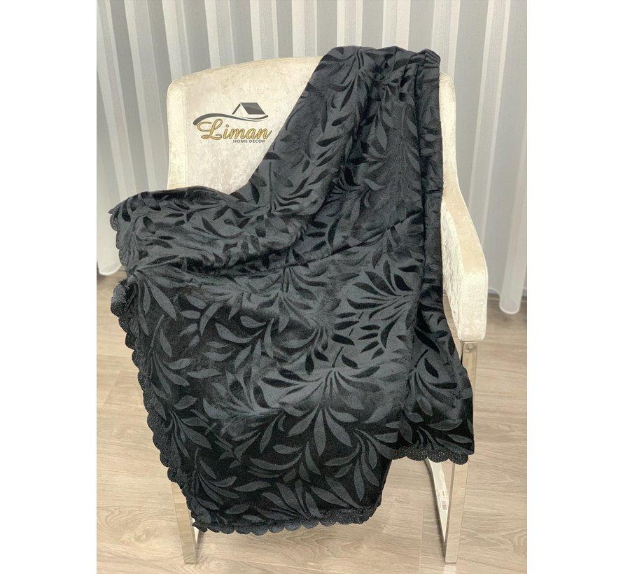 Bankhoes Zwart 170 x 215 cm