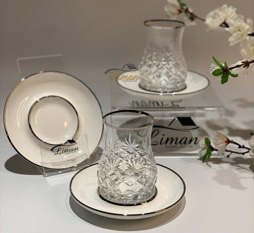 Glazze Milano Luxe Theeglazen Set Zilver / Wit 12 Delig
