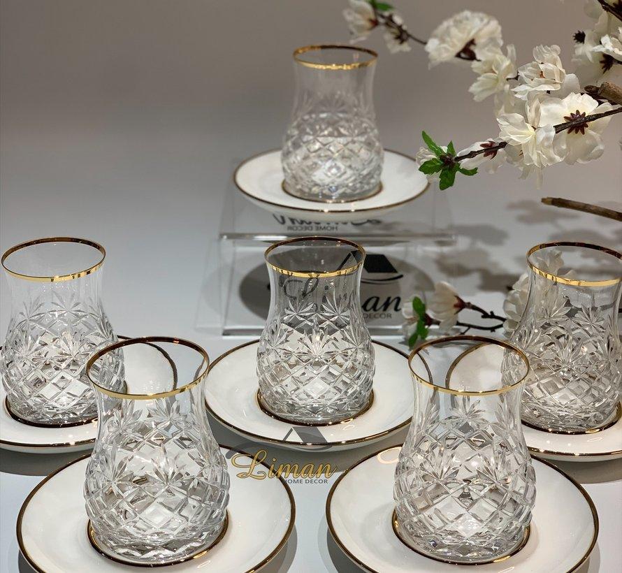 Glazze Milano Luxe Theeglazen Set Goud / Wit 12 Delig