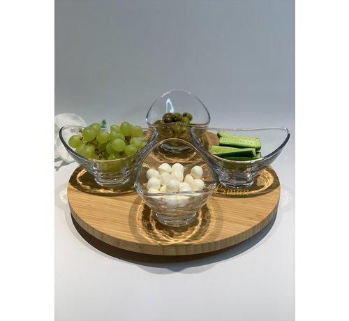 BonBistro Flavor 4 Delig Glazen Kommen Set  15x12xH9cm