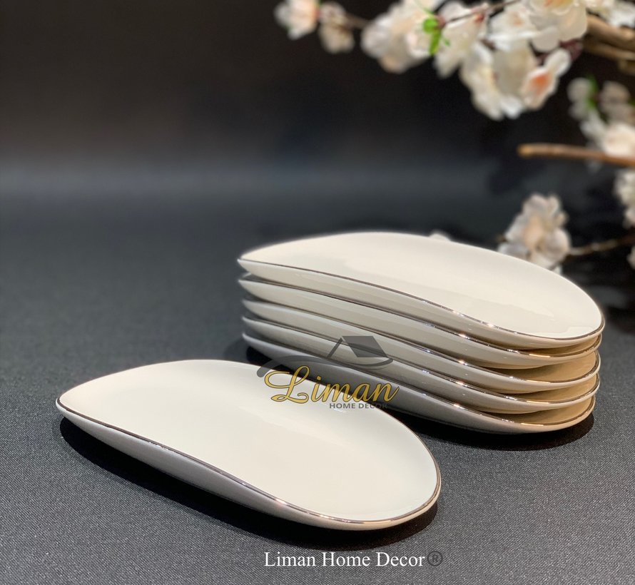 Bricard Porcelain Evry Wit - Zilver 6 Delig Serveerschaal